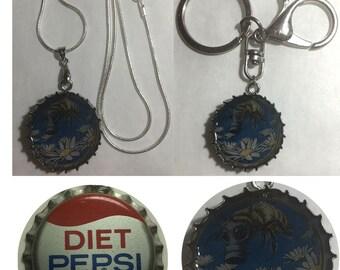Old Diet Pepsi Soda bottle cap Bee Flowers art nouveau Keychain, Pendant, Necklace