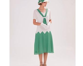 1920s zig zag dress in off-white and sea green, Great Gatsby dress, 20s day dress, Downton Abbey dress, 1920s tea dress, Charleston dress