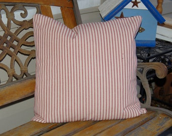 Red and White Mattress Ticking Accent Pillow Cover - 18X18