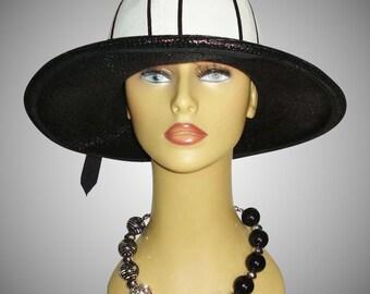 Vintage 1960's Hat . Black & White . Wide Brim . Garden Party Mad Men Rockabilly Garden Party Femme Fatale Couture