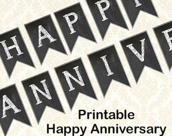 Happy Anniversary Banner, Diy Printable Chalkboard Anniversary Party Banner
