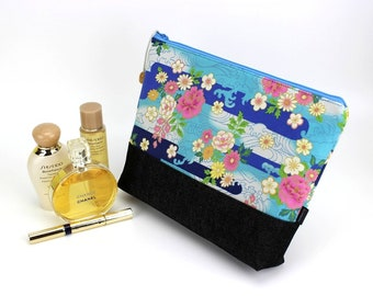 travel bags, kimono pouch, make up bags, large cosmetic pouch, padded makeup bags, chrysanthemum light blue