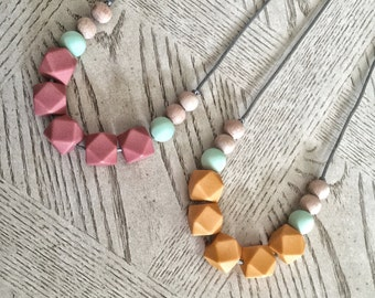 Silicone Beads Wood beads - Teething Necklace / Nursing Necklace Jewelry for Mom and Baby Shower Gift - wooden beads / wood teether Toy