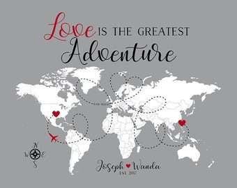 Personalized Gift, Love is the Greatest Adventure Map, Custom Map with Two Locations, Heart and Airplane, Deployment, Girlfriend | WF270