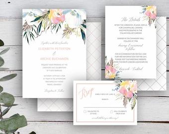 SUMMER ROSE Suite - Invitation, RSVP & Details Card - Editable Templates - Summer Florals  - Printable - Instant Download