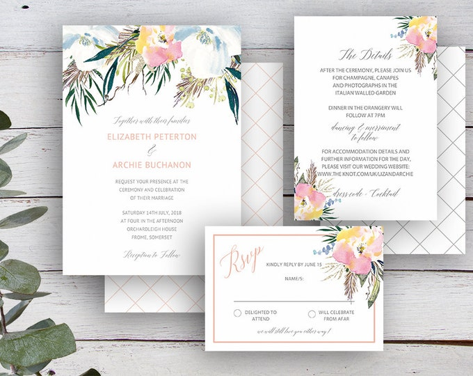 Featured listing image: SUMMER ROSE Suite - Invitation, RSVP & Details Card - Editable Templates - Summer Florals  - Printable - Instant Download