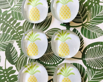 Pineapple glass pebble magnets, pebble magnets, pineapple magnets, cute gift, pineapple, party favor, refrigerator magnets