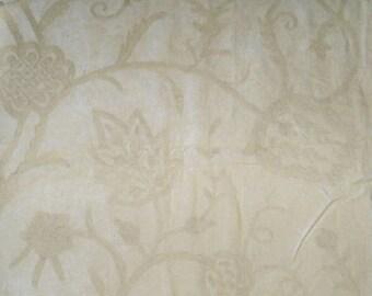 PASARI JAKARA JACOBEAN Wool Crewel Embroidered Velvet Fabric 10 Yards Vanilla