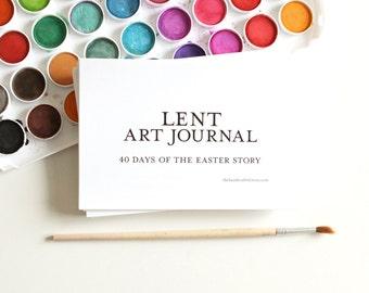 Lent Art Journal - Easter Printables Kids Crafts Easter Advent 40 Days of Lent Season Easter Countdown Bible Art Journaling Easter Crafts