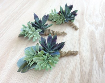 Groom Boutonniere | Gift for Dad | Floral Alternative | Succulent Boutonniere | Groomsmen Gift | Keepsake Gift | Wedding Accessories