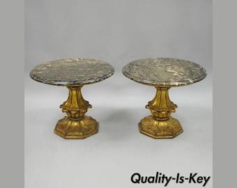 Pair Francisco Hurtado Gold Wood Italian Hollywood Regency Marble Top End Tables