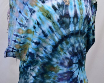 Earthy Mama TIE Dye Women's Women Organic Bamboo PONCHO Tee T-Shirt Eco Sustainable Bohemian Hippie Fashion Grateful Dead Made in the USA W