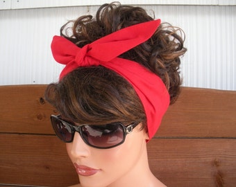 Women's Headband Dolly Bow Retro Headband Summer Fashion Accessories Hair Women Headscarf Bandana in Red - Choose color
