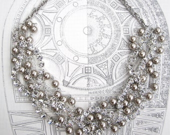Rhinestone Pearl Silver Wedding Necklace Bridal Necklace Wedding Jewelry Twisted Chunky Statement Silver Chains Life of the Party in Silver
