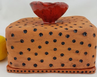 Handmade brown polka dot ceramic butter dish with fitted lid