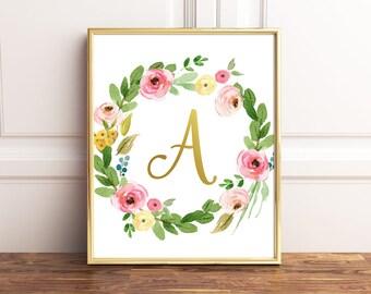 Letter Print Monogram, Gold Letter, Initial Poster, Nursery Initial Print, Nursery Monogram, Wall Letters, Gold Letter Sign, Floral Monogram