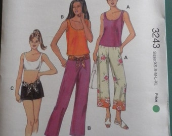 Kwik Sew 3243 Misses Pants, Shorts, and Top