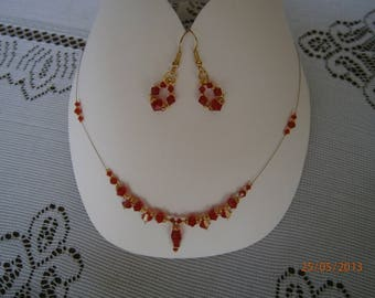 Parure 3 pièces en cristal SWAROVSKI, coloris rouge clair (light