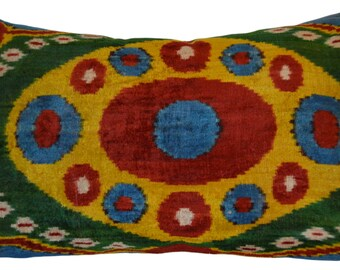 Ikat Lumbar Pillow Velvet Pillow Cover Living Room Pillow Multicolor Pillow Cover Ethnic Pillow Silk Velvet  Handmade Pillow Uzbek Pillow