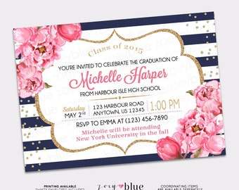 Peony Graduation Invitation - Navy White Gold Watercolor Floral Pink High School Grad College Graduation Invite Printable Digital File