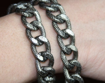 5 ft of Aluminum Chunky heavy chain Curb open link chain  21x15mm,  Gunmetal chain, large chunky aluminum chain