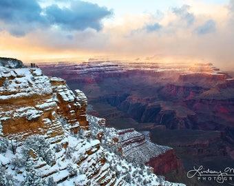 "Grand Canyon Photo | ""Grand Canyon Winter Sunset"" | Grand Canyon Snow Print - Arizona Wall Art Print - Grand Canyon Picture - Canyon Print"