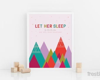 "Nursery Art, Let Her Sleep, Move Mountains Quote for Baby Girl : 8x10"" Print"