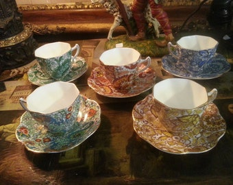 Beautiful five piece set of antique English Rosina china tea cups & saucers, pretty paisley patterns, different colors, great condition