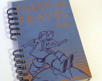 1938 TALES & TRAVEL Handmade Journal Vintage Upcycled Book Travel Journal