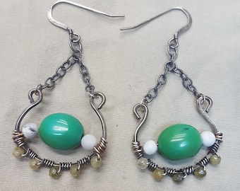 Turquoise, Sterling Silver, Chain Earrings