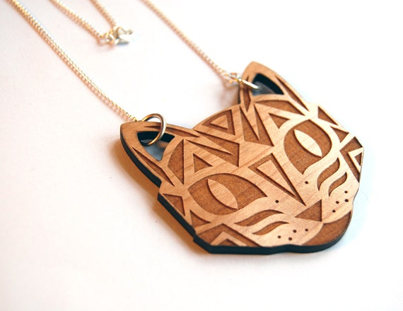 trend tessellation necklace hipster jewelry cut pin long pendant boho laser designer wood geometric
