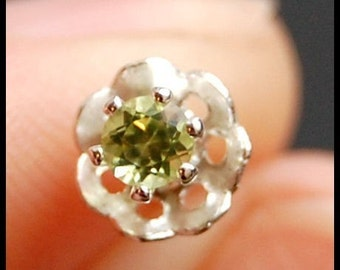 Nose Stud / Peridot Nose Screw / Flower Nose Ring / Claw Set, Hand Soldered Peridot and Sterling Silver - CUSTOMIZE