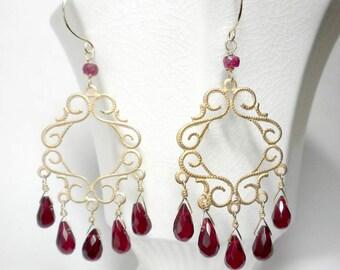Red Chandelier Earrings Red Drop Earrings Red Briolette Earrings Elegant Red Earrings Red  Gold