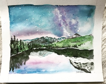 Galaxy landscape with mountains | original watercolor painting | 8x10