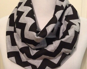 Black in gray chevron scarf- available in infinity and regular, adult, teen, toddler, infant sizes