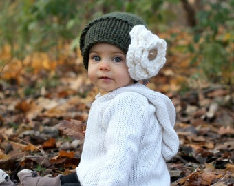 KNITTING PATTERN with crochet flower - The Sophie Hat