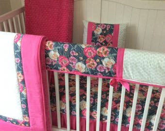 Pink and Gray Baby Girl Boho Floral Crib Bedding Ready to Ship in Two Weeks