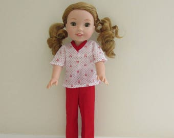 Red and white scrubs for 14 in doll such as Wellie Wisher