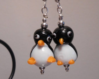 Glass Penguin Earrings No. 279