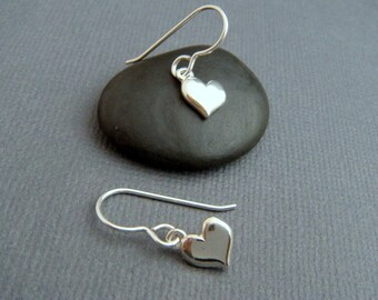 small heart earrings tiny sterling silver dangles silver heart everyday jewelry sterling drop leverback lever back. 8 mm heart. under 3/8""