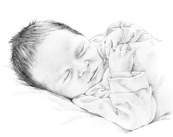 Custom baby portrait - pencil drawing from photo. Mother's Day Gift