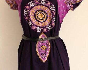 Dreamcatcher - purple, ochre yellow & white dress size small uk 8