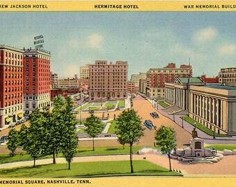 Memorial Square Andrew Jackson Hotel Nashville Tennessee Vintage Postcard (unused)