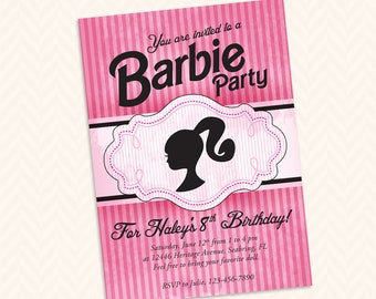 Girls Doll Head Silhouette Birthday Party Invitation Design - Custom printable Vintage Black and Pink Striped Birthday Invitation