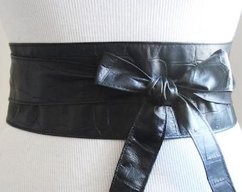 Black Croc Leather Obi Belt | Black belt |  Waist/hip wrap Belt | leather sash belt |Black Leather tie Belt