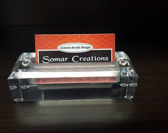 Rectangle Acrylic Desk Business Card Holder, Lucite Desk Business Card Stand, Office Gift Ideas, Office accessories