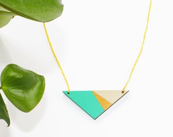 Geometric, wooden triangle necklace, turquoise necklace, wood cut necklace, minimalist necklace, long wooden necklace, triangle pendant