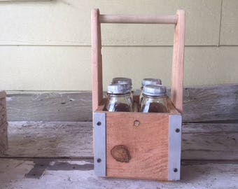 Milk Bottle Carrier - Wooden Vintage Style