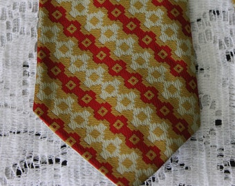 Vintage Lord Copley 1970s Mens Polyester Necktien Gold and Red