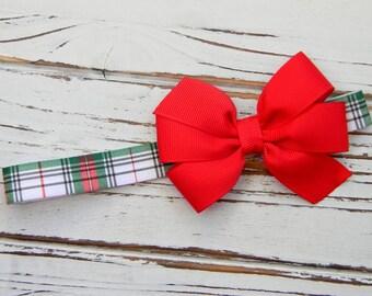 Plaid Bow Headband - Baby Bow Headband - Girls Bow Headband - Christmas Bow Headband